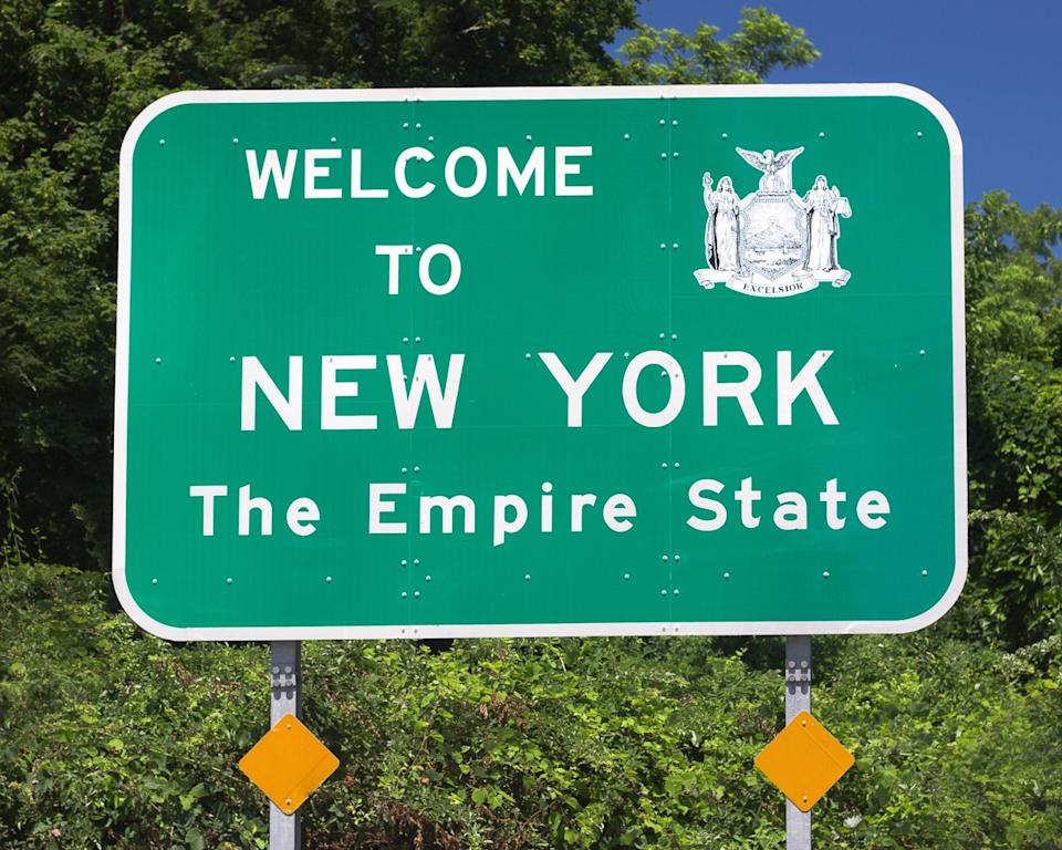 new york state welcome sign