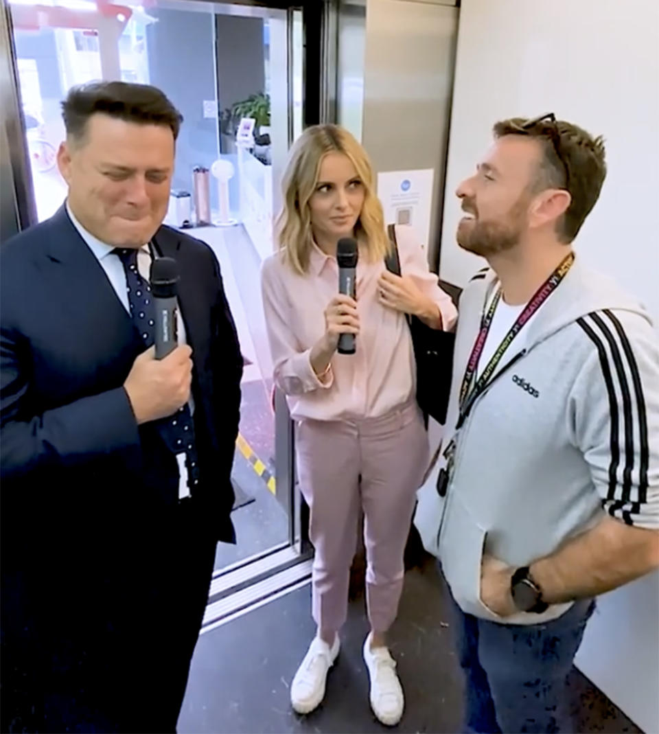 Today hosts Karl Stefanovic and Ally Langdon in a lift with Intern Pete at KIIS FM