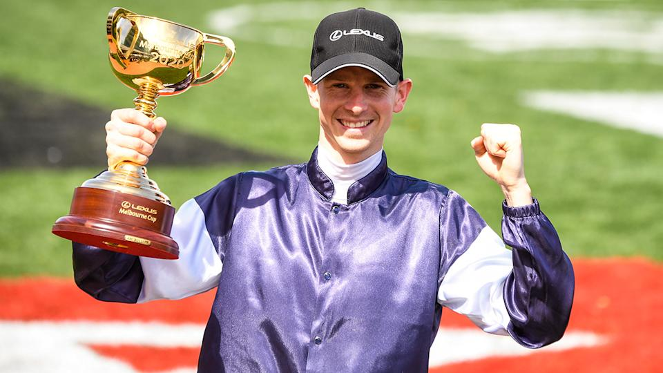 Jye McNeil, pictured here after winning the Melbourne Cup on Twilight Payment.