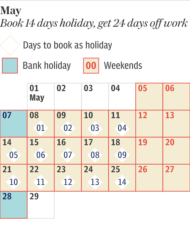 May 2018 Holiday calendar