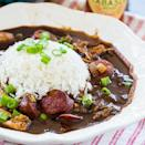 """<p>If you're in the mood for gumbo, this easy and quick recipe is just what you need. With every spoonful you'll get flavors of andouille sausage, Cajun seasonings, and chicken that'll make your taste buds swoon in delight. This easy one-pot meal can be made in less than half an hour, so get cookin'!</p> <p><strong>Get the recipe</strong>: <a href=""""https://spicysouthernkitchen.com/30-minute-gumbo/"""" class=""""link rapid-noclick-resp"""" rel=""""nofollow noopener"""" target=""""_blank"""" data-ylk=""""slk:30-minute gumbo"""">30-minute gumbo</a></p>"""