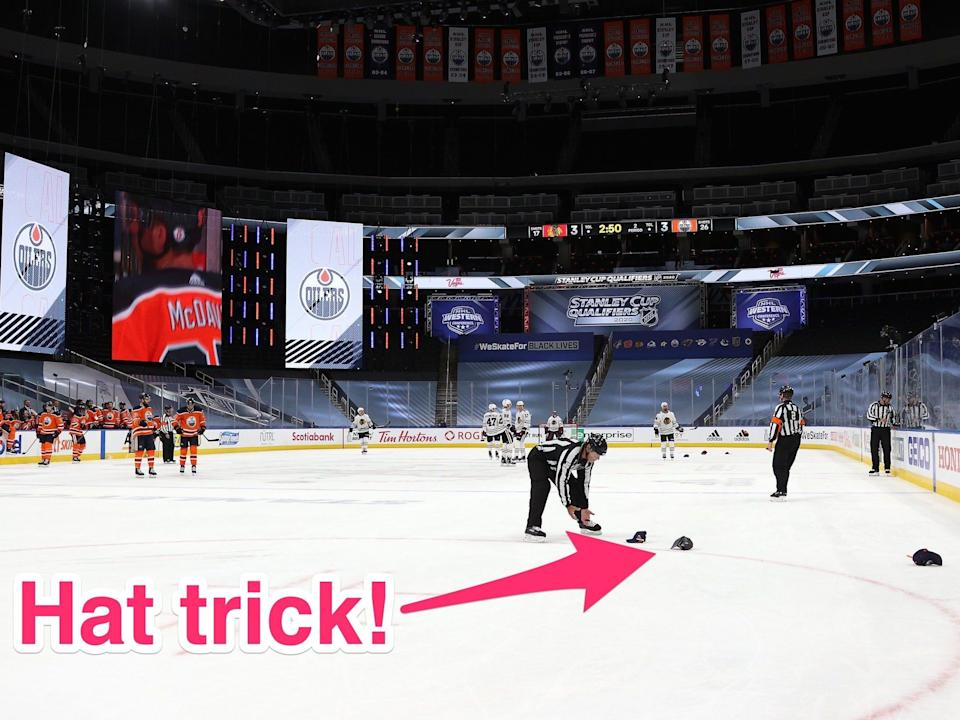 When superstar Connor McDavid recorded a hat trick Monday night, the NHL improvised to celebrate on behalf of the Edmonton Oilers fanbase.