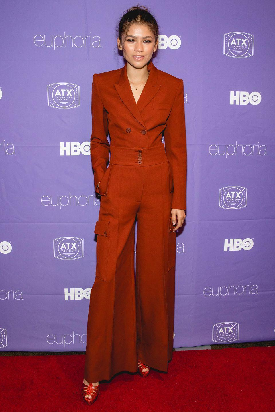 <p>Who: Zendaya </p><p>When: June 06, 2019</p><p>Wearing: Head-to-toe red</p><p>Why: We love a good suit, but we've never once thought about tucking the blazer into our pants. That's exactly what Zendaya did at the ATX Television Festival in Austin, Texas, and we're inspired to try the same. </p>