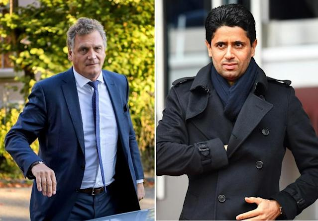 Former FIFA secretary general Jerome Valcke (L) and (R) Paris Saint-Germain president Nasser Al-Khelaïfi are both to face trial in Switzerland over alleged corruption (AFP Photo/STF)