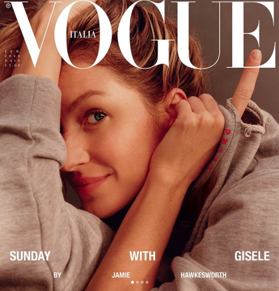 Gisele makes history with make-up free cover. Photo: Vogue Italia