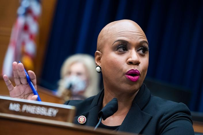Rep. Ayanna Pressley (D-Mass.) and DeLauro wrote a letter to the White House urging inclusion of paid family leave in the next legislative package, after it became clear it would not be included in the forthcoming COVID-19 relief bill. (Photo: Tom Williams/CQ-Roll Call, Inc/Getty Images)
