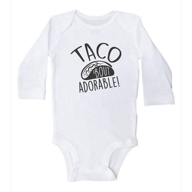 """<p>Not much needs to be said about this onesie other than the fact that it's the cutest thing <em>ever</em><span>. <em>(Taco onesie, PANTALOON REBELLION, $13)</em></span></p><p><span> <a rel=""""nofollow noopener"""" href=""""https://www.etsy.com/listing/523666648/taco-bout-adorable-funny-taco-bodysuit"""" target=""""_blank"""" data-ylk=""""slk:BUY NOW"""" class=""""link rapid-noclick-resp"""">BUY NOW</a></span></p>"""
