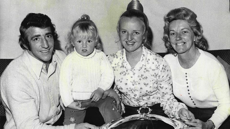 Barry 'Bunny' Reilly, pictured here with his wife, daughter and mother-in-law in 1974.