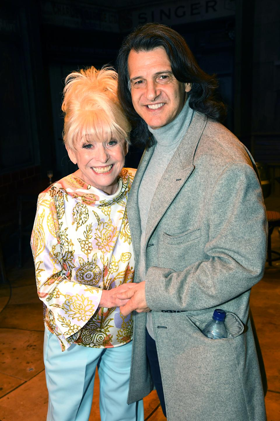"LONDON, ENGLAND - APRIL 03: Barbara Windsor poses with Scott Mitchell as she meets the cast of ""The Only Fools and Horses the Musical"" on April 03, 2019 in London, United Kingdom. (Photo by Dave J Hogan/Dave J Hogan/Getty Images)"