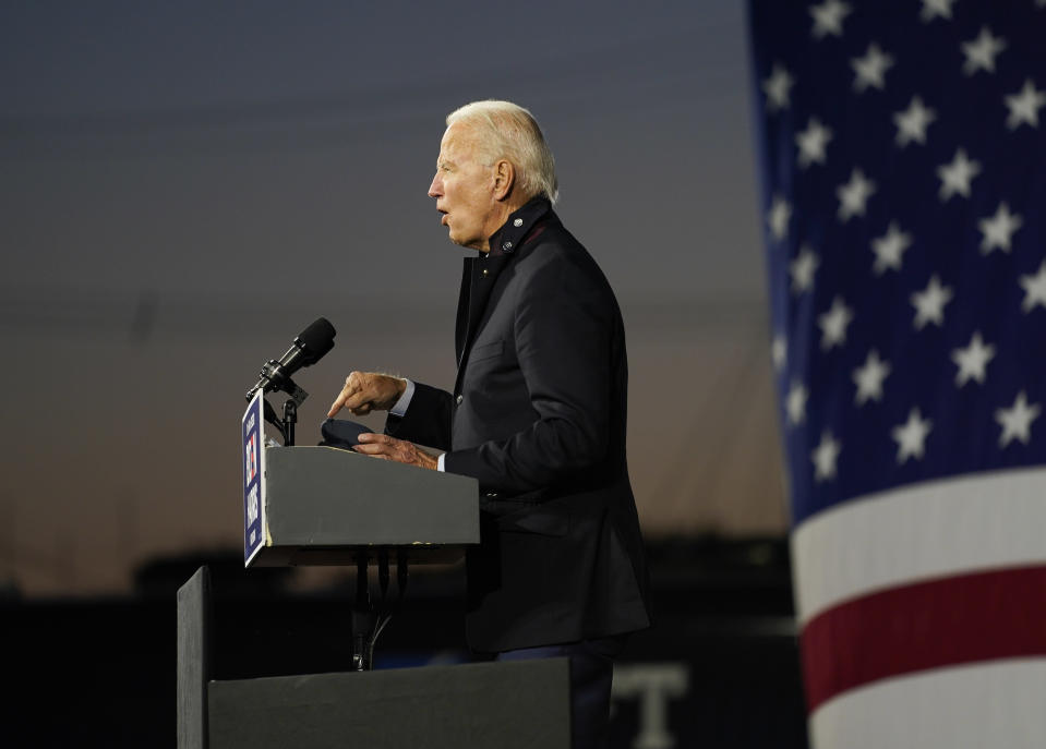 Democratic presidential candidate former Vice President Joe Biden speaks at Michigan State Fairgrounds in Novi, Mich., Friday, Oct. 16, 2020. (AP Photo/Carolyn Kaster)