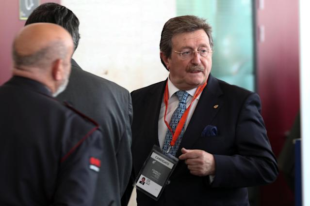 Juan Luis Larrea, one of the presidential candidates for Spanish Soccer Federation, arrives to attend a general assembly in Las Rozas, Spain, May 17, 2018. REUTERS/Sergio Perez