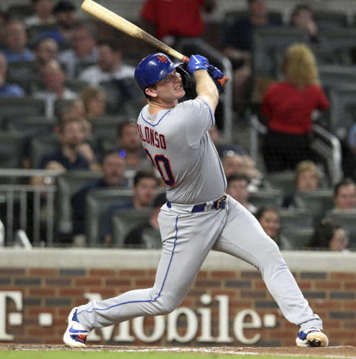 New York Mets' Pete Alonso bats against the Atlanta Braves during the fourth inning of a baseball game Thursday, Aug. 15, 2019, in Atlanta. Alonso singled on the at-bat, one of his five hits in the Mets' 10-8 win. (AP Photo/Tami Chappell)