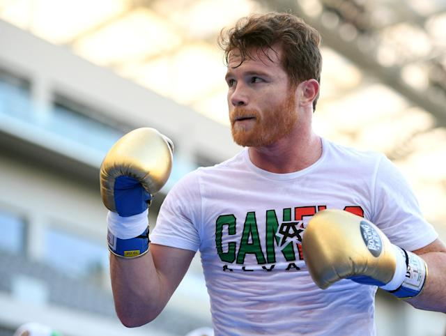 "Canelo Alvarez during a media workout before his fight against Gennady ""GGG"" Golovkin at the Banc of California Stadium on Aug. 26, 2018 in Los Angeles, California. (Getty Images)"