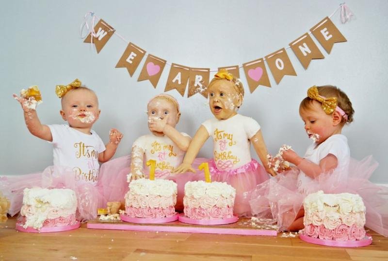 This mum made two life-size versions of her twins, made of cake. Photo: Mega