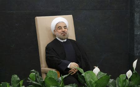 Iran's President Hassan Rouhani waits to address the 68th United Nations General Assembly at UN headquarters in New York, September 24, 2013 REUTERS/Ray Stubblebine