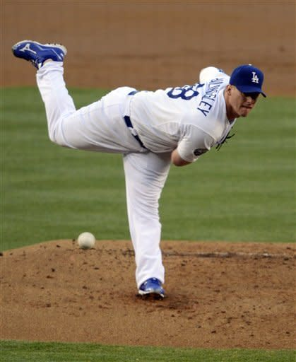 Los Angeles Dodgers starting pitcher Chad Billingsley throws to the plate during the second inning of the Dodgers' baseball game against the Chicago White Sox, Saturday, June 16, 2012, in Los Angeles. (AP Photo/Mark J. Terrill)