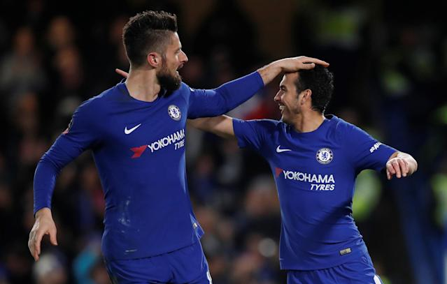 Soccer Football - FA Cup Fifth Round - Chelsea vs Hull City - Stamford Bridge, London, Britain - February 16, 2018 Chelsea's Pedro celebrates scoring their second goal with Olivier Giroud REUTERS/Eddie Keogh