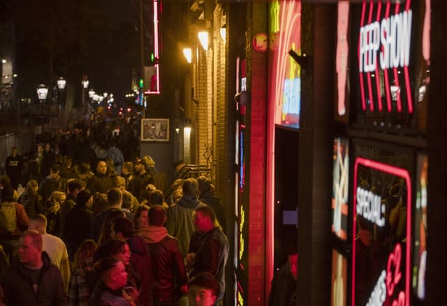 Tourists in Amsterdam's red light district