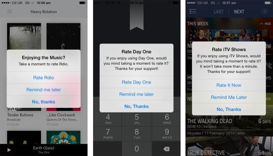 """<p>I've used your app for almost 15 minutes and now you want me to rate it in the app store? Didn't Mom ever tell you that nagging people isn't the best way to get people to like you? (Then again, maybe she didn't like you, either.) <i>(Photo: <a href=""""http://dancounsell.com/"""" rel=""""nofollow noopener"""" target=""""_blank"""" data-ylk=""""slk:Dan Counsell"""" class=""""link rapid-noclick-resp"""">Dan Counsell</a>)</i></p>"""