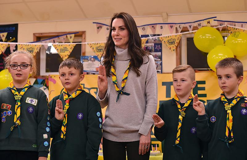 Her children are breaking up for the Easter holidays this week, but Kate spent Thursday bonding with other adorable kids as she visited the Scouts' headquarters at Gilwell Park in Essex. Dressed in casualwear for her laidback engagement, Kate arrived to whoops and cheers from the young Scouts. The Duchess was learning about the organisation's new pilot to bring Scouting to younger children, while also celebrating the site's 100th anniversary year.Kate, who has carried out engagements with the Scouts before, joined the youngsters in various activities to help them improve skills like communication and teamwork. Boat building and balloon rocket assembling were just some of the workshops that Kate, 37, got stuck into. Let's take a look at the best photos from the royal's day out…