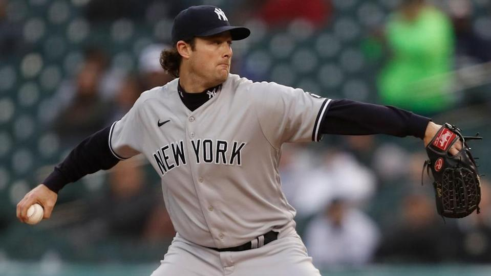 Gerrit Cole road grey delivering pitch Tigers