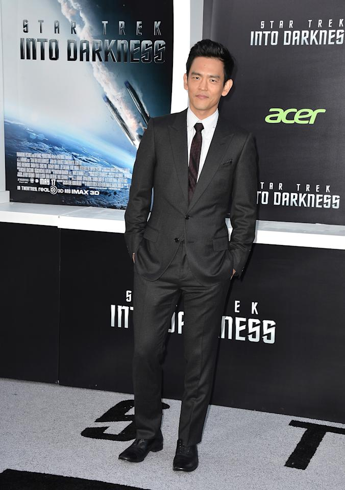 "HOLLYWOOD, CA - MAY 14:  Actor John Cho arrives at the premiere of Paramount Pictures' ""Star Trek Into Darkness"" at Dolby Theatre on May 14, 2013 in Hollywood, California.  (Photo by Frazer Harrison/Getty Images)"