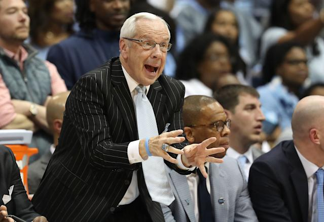 Head coach Roy Williams of the North Carolina Tar Heels reacts during their game against the Duke Blue Devils on Saturday. (Getty Images)