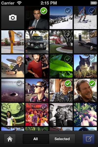 an undated image provided by Facebook shows Facebook's new camera app, unveiled Thursday, May 24, 2012. The app, made for the iPhone, can be downloaded from Apple's App Store. It works like most other camera applications for smart phones. To take a photo, you tap a camera icon in the upper left corner of your screen, aim and shoot. You can then add filters, crop or tilt your photo, and share it on Facebook. (AP Photo/Facebook)