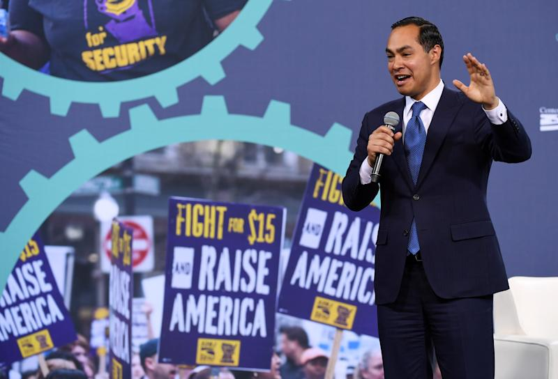 Julián Castro speaks at the National Forum on Wages and Working People in Las Vegas, Nevada. | Ethan Miller—Getty Images