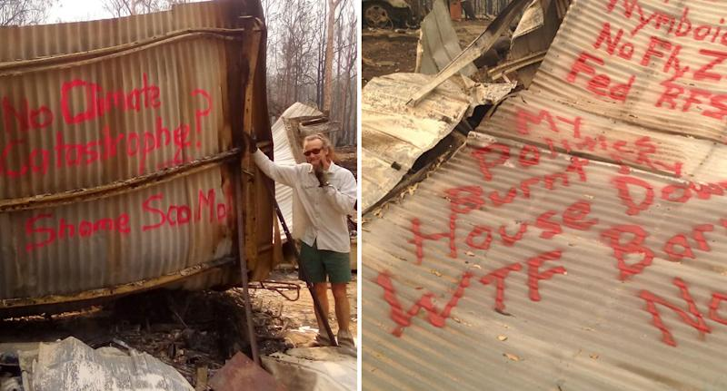 """Stu Mackay on the left with his message to the prime minister, """"No climate catastrophe? Shame ScoMo."""" While on the right, Mr Mackay wrote, """"My pollies burnt my house down"""", among other messages."""