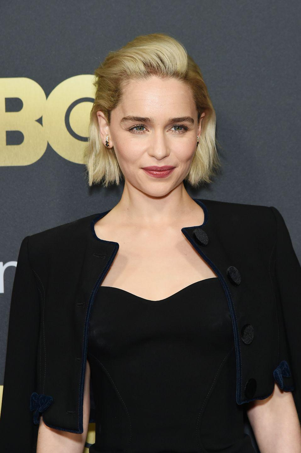 "<p>The natural brunette dyed her hair platinum blonde when filming the final season of <em>Game of Thrones</em>. The actress's hair was so <a href=""https://www.glamour.com/story/emilia-clarke-game-of-thrones-hair?verso=true"" rel=""nofollow noopener"" target=""_blank"" data-ylk=""slk:damaged after the series finished"" class=""link rapid-noclick-resp"">damaged after the series finished</a> that she <a href=""https://www.instagram.com/p/BZOViualnb7/?utm_source=ig_embed"" rel=""nofollow noopener"" target=""_blank"" data-ylk=""slk:chopped it off"" class=""link rapid-noclick-resp"">chopped it off</a>.</p>"