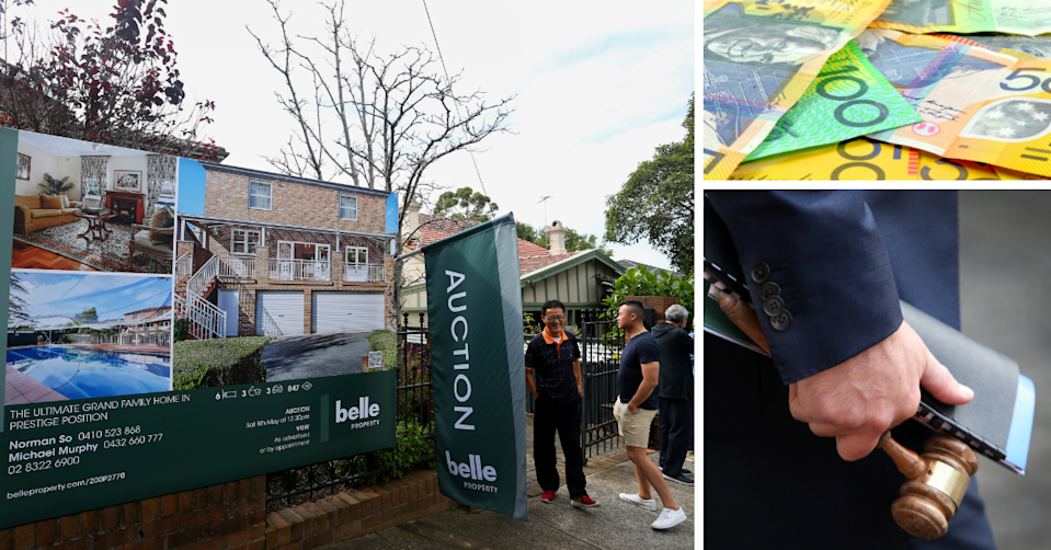 An auction sign at a property in Sydney, Australian money and an auctioneer holding a gavel