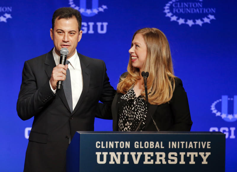Talk show host Jimmy Kimmel, left, and Vice Chair of the Clinton Foundation Chelsea Clinton speak during a student conference for the Clinton Global Initiative University, Saturday, March 22, 2014, at Arizona State University in Tempe, Ariz. More than 1,000 college students are gathered at Arizona State University this weekend as part of the Clinton Global Initiative University's efforts to advance solutions to pressing world challenges. (AP Photo/Matt York)