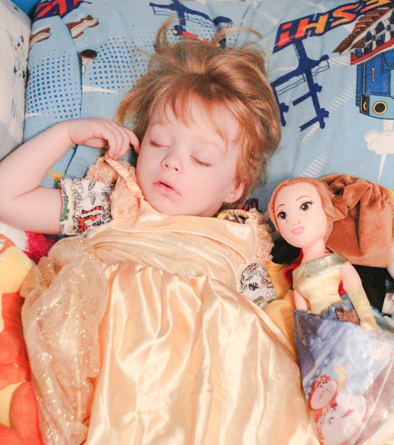 """According to McLean-Glass, her son would love nothing more""""than to get to wear a pretty dress, put make up on like Mummy does and have his photo taken being one of his beloved Disney princesses."""" (Hayley McLean-Glass)"""