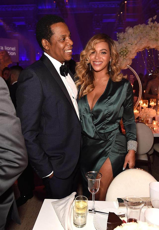 "<p>They're <i>baaaack</i>. Jay-Z and Bey made their first public appearance since the birth of their twins at Rihanna's Diamond Ball fundraiser in NYC. Knowles wowed in a plunging green dress as she and her husband enjoyed their date night for a cause. <a href=""https://www.vanityfair.com/style/2017/09/rihanna-diamond-ball-beyonce-jay-z"" rel=""nofollow noopener"" target=""_blank"" data-ylk=""slk:According to Vanity Fair"" class=""link rapid-noclick-resp"">According to <i>Vanity Fair</i></a>, the parents were in a great mood as they were ""all smiles"" dancing together past midnight. When Calvin Harris played Jay-Z's ""Show Me What You Got,"" Beyoncé was reportedly singing along throughout the song. (Photo: Kevin Mazur/Getty Images for Clara Lionel Foundation) </p>"