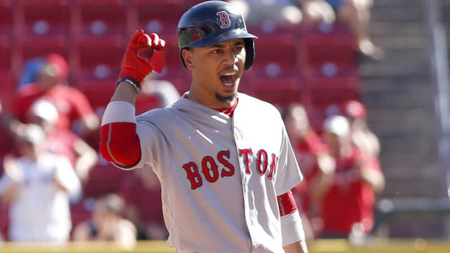 Mookie Betts cracked everyone up when he had to run for a ball during an in-game interview.