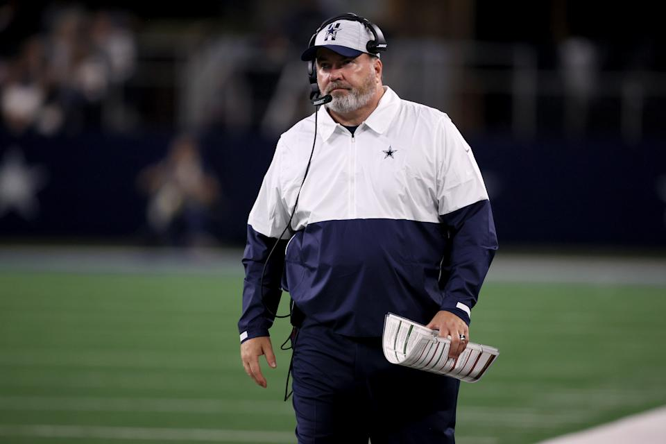 ARLINGTON, TEXAS - AUGUST 21: Head coach Mike McCarthy of the Dallas Cowboys reacts as the Dallas Cowboys take on the Houston Texans in the second half of a preseason NFL game at AT&T Stadium on August 21, 2021 in Arlington, Texas. (Photo by Tom Pennington/Getty Images)