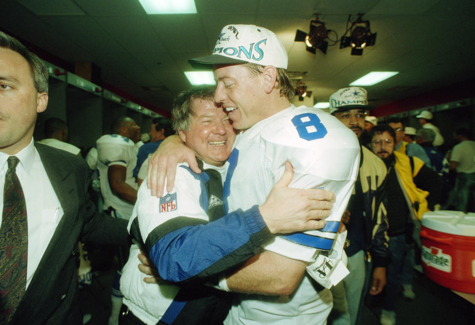 Troy Aikman won two of his three Super Bowls with head coach Jimmy Johnson. (AP)