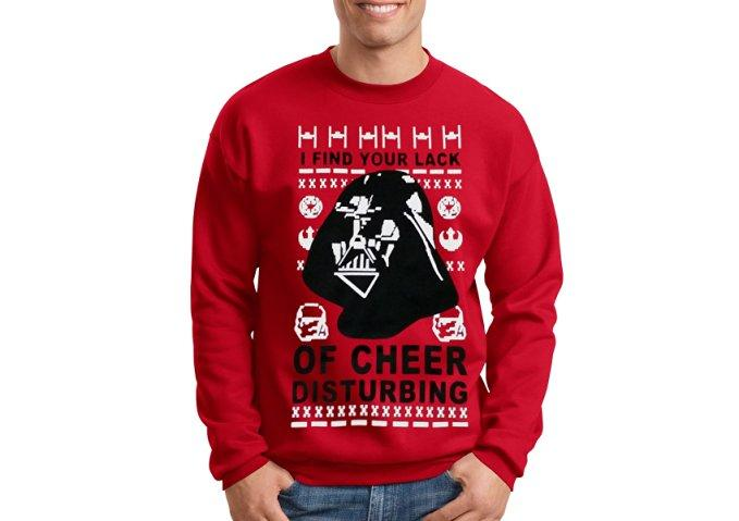 """<p>For the one who tops his tree with the Death Star. </p><p>Get it <a rel=""""nofollow"""" href=""""https://www.amazon.com/Christmas-Sweater-Darth-Cheer-Disturbing/dp/B01KG75ND0""""><strong>here.</strong></a> </p><p></p>"""