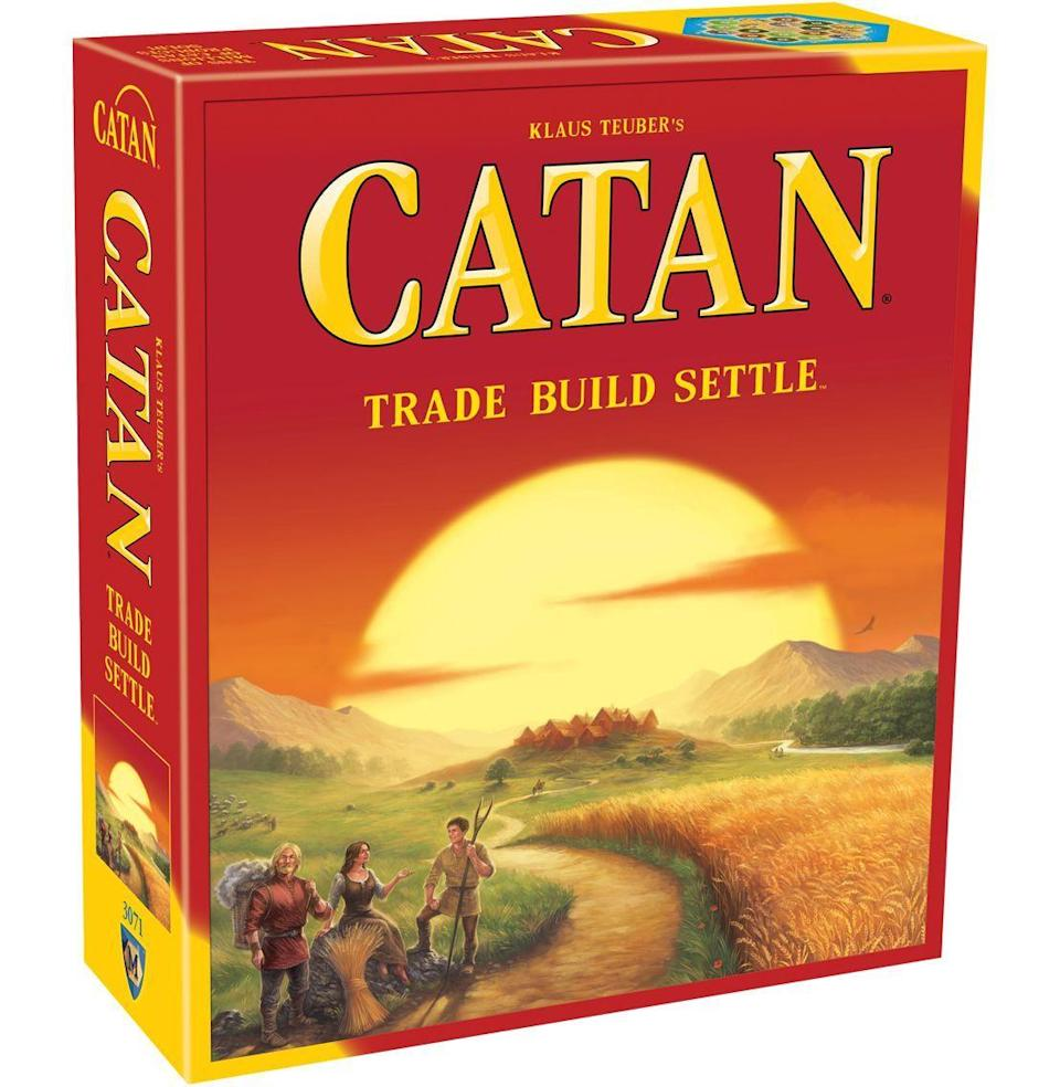 "<p><strong>Catan Studio</strong></p><p>walmart.com</p><p><strong>$43.88</strong></p><p><a href=""https://go.redirectingat.com?id=74968X1596630&url=https%3A%2F%2Fwww.walmart.com%2Fip%2F49605951&sref=https%3A%2F%2Fwww.redbookmag.com%2Flife%2Fg35003913%2Fbest-board-game1%2F"" rel=""nofollow noopener"" target=""_blank"" data-ylk=""slk:Buy"" class=""link rapid-noclick-resp"">Buy</a></p><p>Ah yes, the thrill of a wide open frontier, lush for settling. That's the game of Catan, an all-time classic where players collect natural resources, live off the land, and develop roads, settlements, and cities. Think of it kind of like Risk without the violence, or <em>Age of Empires </em>without the computer. It's a game for a small group (three to four players) that's wholesome enough where you probably won't end up in screaming fights, and challenging enough (the board is different every time) to require thoughtful strategy. <em>—M.M.</em></p>"