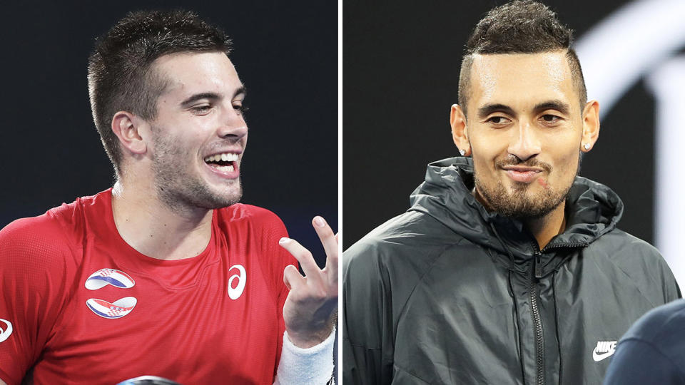 Nick Kyrgios (pictured right) smirking in an interview and Borna Coric (pictured left) getting frustrated.