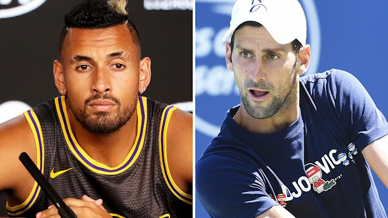Nick Kyrgios has paid Novak Djokovic a backhanded compliment, acknowledging his unbeaten run in 2020 while also reminding him of the Adria Tour debacle, which resulted in several players contracting coronavirus. Pictures: Getty Images