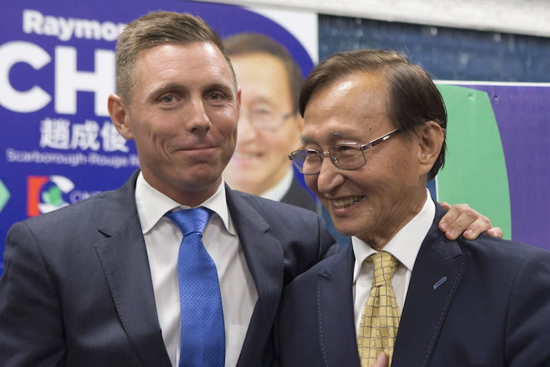 "<p>Cho, right, has reportedly apologized for getting into a physical altercation with a Grade 7 student. <a rel=""nofollow"" href=""https://www.thestar.com/news/queenspark/2018/06/05/pc-candidate-raymond-cho-apologizes-over-physical-altercation-with-grade-7-student-outside-scarborough-school.html"">According to the <em>Toronto Star</em></a><em>,</em> the incident happened outside a Toronto school on May 29. ""During one of the conversations a student ripped up my campaign literature and threw it on the ground,"" Cho told the newspaper via email, adding the incident was inappropriate and he sincerely apologizes to the student and his family. A Toronto District School Board spokesman said the student was not injured and no charges have been laid. Photo from The Canadian Press. </p>"