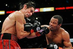 Antonio Margarito (left) had his boxing license revoked after hardened knuckle pads were found in his hand wraps before a Jan. 24, 2009, welterweight title fight against Shane Mosley