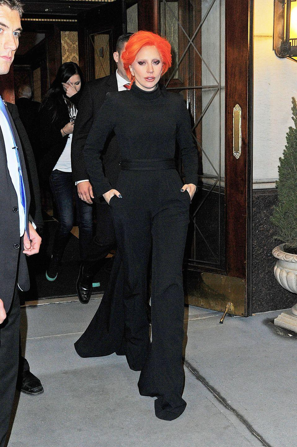 <p>Lady Gaga out and about in New York, February 2016.</p>