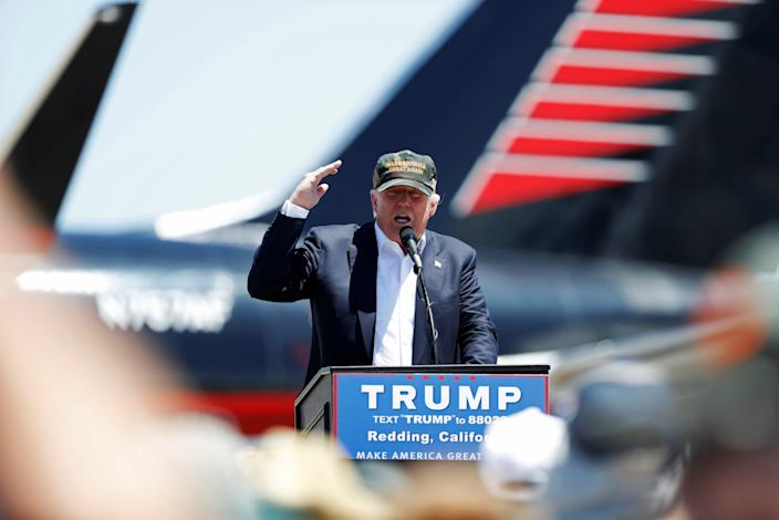 Donald Trump speaks during a campaign rally in Redding, Calif., on Friday. (Photo: Stephen Lam/Reuters)