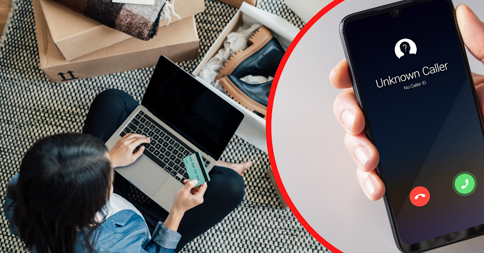 A young woman doing online shopping and a hand holding a phone receiving a call from an unknown number.