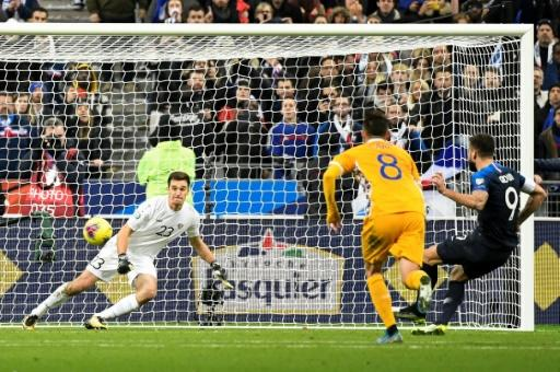 Olivier Giroud scored his 39th goal for France to earn the world champions a narrow win over Moldova