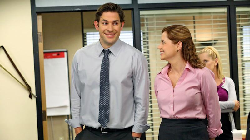 """John Krasinski and Jenna Fischer in """"The Office,"""" which will be on Peacock. (Photo: Byron Cohen/NBC)"""