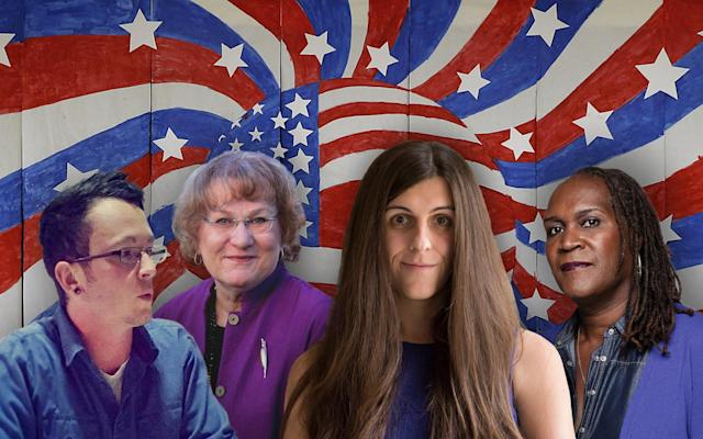 Tyler Titus, Lisa Middleton, Danica Roem, Andrea Jenkins. (Yahoo News photo-illustration; photos: Tyler Titus for Erie City School Board via Facebook, Elect Lisa Middleton Palm Springs City Council 2017 via Facebook, Paul J. Richards/AFP/Getty Images, Andrea Jenkins for Ward 8 via Facebook, Alexa Welch Edlund/Richmond Times-Dispatch via AP)